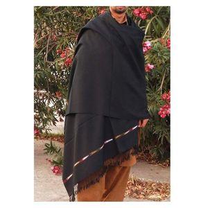 Swati Shawl for Gents - Black Color - Thin woolen Shawl