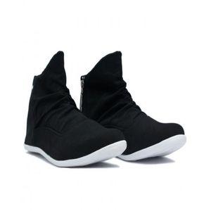 Black Rubber Zipper Sneakers For Men