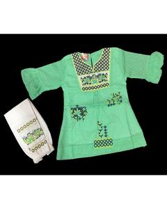 Aqua Color Fancy Embroidered Kurti With White Printed Tights For Girls