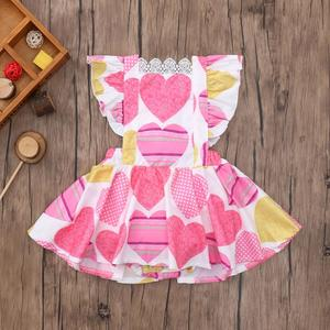 Infant Baby Girls Sleeveless Love Print Vest Backless Lace Romper Dress Jumpsuit