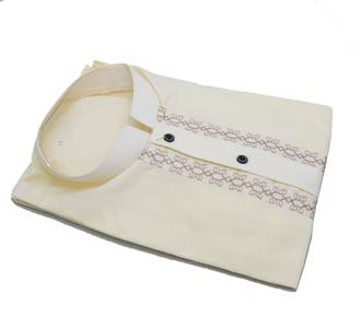 Men's Mix Cotton Cream Color Karhai Stitched Kurta