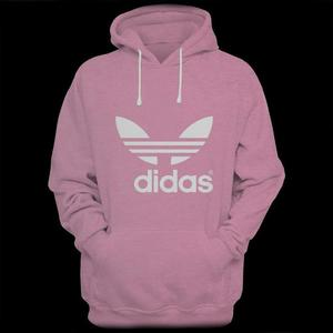 Pink Didas Printed Kangaroo Hoodie For Men