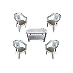 CHIEF(Boss) Set Of 4 Plastic Chairs And Plastic Table - White