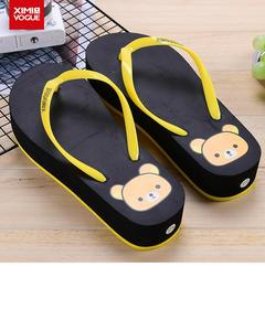 High Heels casual Flip Flop Slippers-yellow black-Size:40