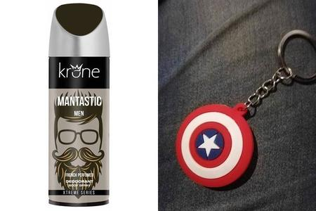 Captain America Keychain Free & Men Krone Mantastic Deodorant - Pack of 2
