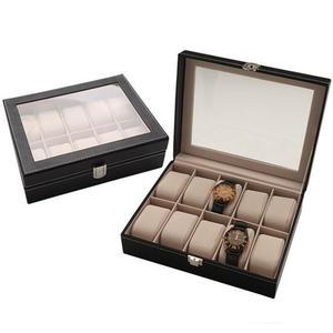 Watch Box 10 Slots Pu Leather Display Glass Top Jewelry Case Organizer Box(Black)