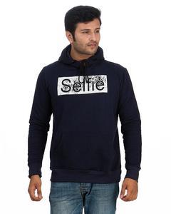 Navy Blue Fleece Printed Pullover Hoodie For Men