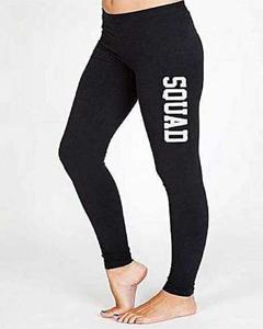 Black Lycra Squad Printed Gym Tights For Women By T-Shirts & Tops