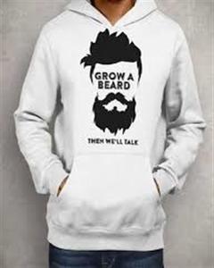 White Beard Printed Hoodie