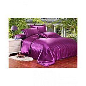 My Home StorePurple Silk Bedsheet Set - S-13