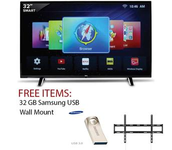 32 Inch UHD 4k Led Flat Smart Tv Double Glass-Black with Free 32gb USB & Wall-Mount (2 Years Circuit Repairing Warranty)