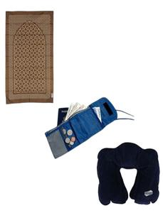 Pack of 3 Travelling Prayer Mat, Safety Pouch, Travel Pillow