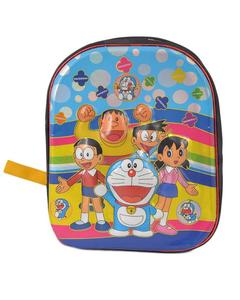 Asaan Parhai Doraemon Embossed School Bag for Boys (2 Compartments with Bottle Holder) - Black (14 Inch Height, 11 Inch Width)