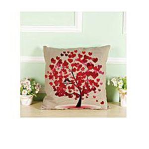 TakedaTextile Decoration Printed Cotton Linen Pillowcase Cushion Cover Car Sofa Chair Seat 45x45cm, Red Tree