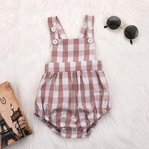 MissFortune Newborn Infant Baby Girl Plaid Overalls Strap Romper Jumpsuit Outfits Clothes