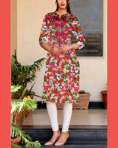 Floral Print Cotton Stitch  Kurta For Woman
