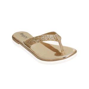 Mojari Gold Synthetic V-Strap Slipper for Women