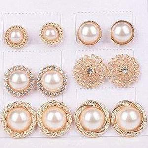 2a1bd2429c3 6 Pairs / Set Gold Color Flower Hollow Stud Earring Vintage Crystal  Simulated Pearl Earrings Set