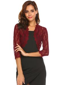 Wine Red Mix Cotton Long Sleeve Coat For Women