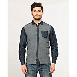 Daraz Fashion Blue Men's Long Sleeve denim checkered shirt