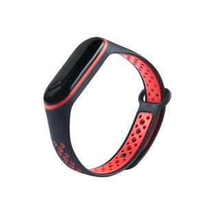 Dual Color Waterproof Silicone Replacement Wrist Strap Watch Band for Xiaomi Mi Band 3 Smart Bracelet Miband 3 Mi 3  Black Red