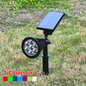 7-LED Colorful Spotlight, Outdoor Waterproof Solar Panel Power Adjustable Flood Light, Garden Yard Lawn Wall Lamp