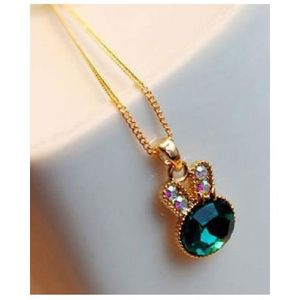 Rabbit Crystal Pendant Necklace - Sea Green