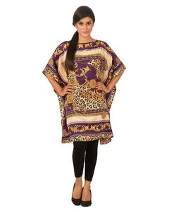 Golden & Purple Polyester Printed Poncho - PON08 GD17