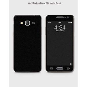 Samsung Grand Prime Plus Phone Skin Front Back And Sides Black Suede Leather Velvet Texture Skin