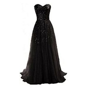 BluelifeWomen Strapless Maxi Evening Dress With Sequins Decor - Black