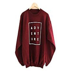 JstyleMaroon Fleece Printed Sweatshirts For Women