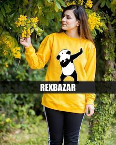 Rex Bazar - Yellow Dab Panda Sweat Shirt For Women
