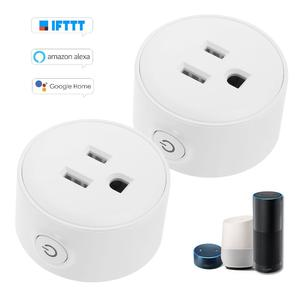 Mini Wifi Smart Socket with Bulgy On/Off Button Smart Alexa Outlet Support APP Remote Control Timing Function Voice Control for Amazon Alexa for Google Home/Nest IFTTT No Hub Required Smart Home Plug (2 Pack)