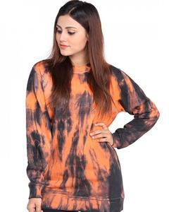 Orange Fleece Sweatshirt For Women