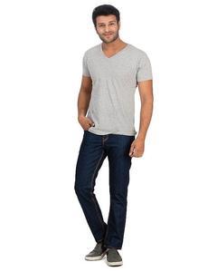 Dark Blue Basic Denim Straight-leg Jeans with Golden Thread for Men - Slim-fit -