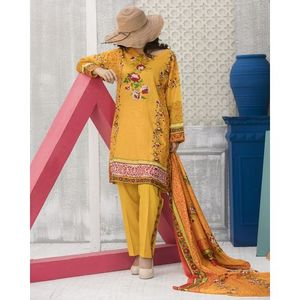 Butter Yellow Floral Printed Lawn Suit For Women - 3 Pcs