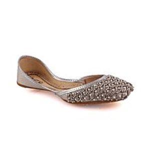 Unze LondonBlack Women?s ?Ametrine? Embellished Indian Khussa Slippers L29724