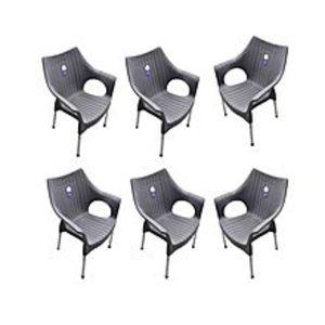 CHIEF(Boss) Set Of 6 Rattan Plastic Chairs - Grey