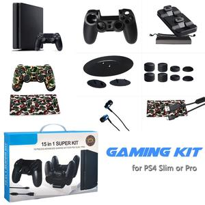 Rondaful IV-P4T01 PS4 Accessories Joystick PS4 Charger Controller Cover Sticker Headphone Remote Control Gamepad Grip PlayStation 4 Slim / PS4 Pro Vertical Stand