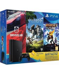 PS4 HITS Bundle - PS4 500GB + Horizon Zero Dawn, Ratchet & Clank, and Driveclub + 3 Month PS Plus - Black