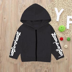 Printed Sleeves Zipper Hoodie For Kids