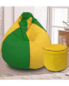 Tear Drop Bean Bag and Round Foot Rest Stool - Green & Yellow - Black Piping