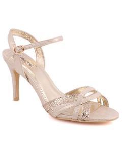"Gold Metallic Fabric Women ""XENA"" Peep Toe Criss-Cross Strap Stiletto Sandals L30627"