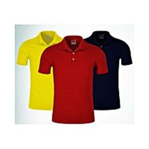 StyleoPack of 3 - Yellow, Red & Navy Blue Cotton Polo Shirt for Men