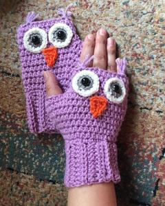 Long Owl Wool Gloves for Women