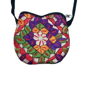 Multicolor Cotton Embroidered Clutch for Women