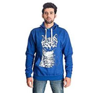 Al BuraqRoyal Blue Geek Cat Printed Cotton & Wool Hoodie for Men