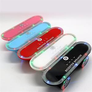 Skateboard Bluetooth Wireless Scooter Speakers Mobile Audio Mini Portable Speakers With Led Light, USB, FM, TF Slot, AUX Blue/Speaker
