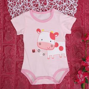 Summer Cartoon Short Sleeve Unisex Baby Cotton O-Neck Romper Jumpsuit