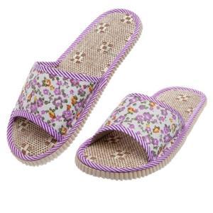 Women's Men's Summer Floral Home Indoor Slipper Open Toe Flat Heel Slippers